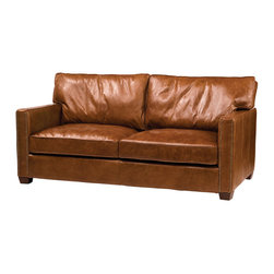 Four Hands - Leather Cigar Loveseat with Square Arms - Symmetry and comfort become one on this vintage leather loveseat. The hardwood frame with exposed wood feet is constructed in a classic style with square armrests; two seat cushions and two back pillows. The pillows and distressed cigar color leather add a relaxed look to an otherwise tightly upholstered piece. This Loveseat creates a welcome yet sophisticated feel for your living room or den.