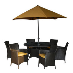 Kontiki - Kontiki Dining Sets - Wicker Medium (Ideal for 6 Seats) - [1.0 set/set]   Recreating the poolside high-end feel of an upmarket hotel for outdoor living in a residence or commercial space is easy with the Ritz series of Kontiki patio furniture.    This series features a number of configurations to suit your outdoor living spaces. And the stylish design of these selections of patio furniture sets is only rivaled by how well-made they are, and how ready they are to endure for the long-term in your outdoor living space.     High-end style, innovative design    The classic look of this series of patio furniture sets makes each selection a stylish addition to any outdoor space. But, the visual effects of these sets are just a part of the story. Each option is bolstered by true 21st century manufacturing innovation. After all, you want a set of patio furniture that's going to look great, and do so for the long-term.    The quality wicker textures are supported by sturdy frames which are designed to resist everyday stresses. Powder-coated aluminum helps to extend their performance against corrosion. And the canvas-like fabrics which are designed by Sunbrella utilize the latest synthetic fiber technology are engineered to resist stains and fading. This is patio furniture that is made to endure, along with the classic look they represent.     High-end patio furniture at best pricing    When you're creating a comfortable and stylish outdoor room, you're looking for the best quality at a price that makes sense. That's why we've designed a channel to get these products to you by working closely with our manufacturing partners to ensure the best results on quality and on price.    Our partners concentrate on creating the best patio furniture products; this is what they do best. And we concentrate on what BuildDirect does best; streamlining the steps it takes to get products from where they're made and to your door. The result is high-quality