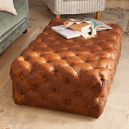 Liliput Cube Ottoman - Aged to perfection, this leather tufted ottoman would be the perfect addition to a den or living area.