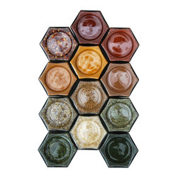 Gneiss Spice - DIY Magnetic Spice Rack With 12 Empty Glass Jars, Gold Lids - -:- 12 large hexagon magnetic jars for fridge