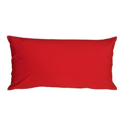 "Pillow Decor - Pillow Decor - Caravan Cotton Red 9 x 18 Throw Pillow - Bold and beautiful, the Caravan Cotton 9 x 18 Throw Pillows are the ideal pillows for adding a simple splash of color to your decor. With 3% spandex added to improve durability and wash ability, this soft cotton pillow will provide long lasting comfort. This is a petite lumbar pillow. Measurements are based on the pillow cover when measured flat before stuffing. For a slightly more generous size, consider our 12"" x 19"" size."