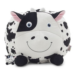 Comfort Research - Comfort Research Bean Bagimals with Lil Buddy, Chloe the Cow - Is your little one a budding animal lover? Or maybe they're just the proud owner of a soft spot for all things cute? Our Bagimal Collection is an adorable set of huggable, lovable, and FUNctional animals that are perfect for playtime, nighttime stories or just cuddling up. Matching Lil Buddy pal to play with included. Made with soft, kid-friendly polyester, short fur fabric. Filled with UltimaX Beans that conform to you.  Double stitched and double zippers for added strength and safety. Spot clean.