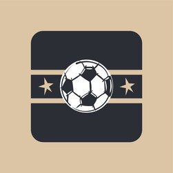 Homeworks Etc - Homeworks Etc Black Soccer Ball Tan Star Canvas Wall Art - Gooaal!  Enjoy this fun canvas wall art depicting a soccer ball against a black background accented with tan stripes and stars.  Makes a great baby shower or birthday gift! It's lightweight design is easy to hang.  Finished tan edge with no framing required.  Canvas stretched over a wooden frame.  Measures 10 x 10 x 1.5-inches. Perfect for use in  a children's bedroom.