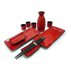 MySushiSet.com - 11 PC Scarlet Script Sushi and Sake Set - This beautiful dinnerware features scarlet red glaze on the two rectangular sushi plates and coordinating soy sauce dishes.  All of the pieces are trimmed in black and feature sections of a poem in Chinese calligraphy etched in black down one side of the dish.  A matching Sake bottle and four sake cups are also etched with the poem.