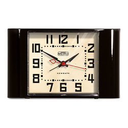 Vintage-Inspired Wide Awake Clock - Black - Wake up in style with this vintage-inspired alarm clock made from durable acrylic. Its glossy finish adds a modern touch, while its design lets it blend seamlessly with any bedroom décor.
