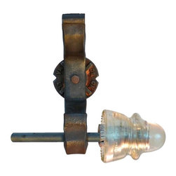 Railroadware - Rail Anchor Curtain Bracket System with glass Insulators (Pair) - The Rail Anchor Curtain Bracket System with Glass Insulators (Pair)