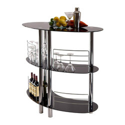 Winsome Wood - Martini 47 in. Bar - Curved shape provides excellent serving spot. Chrome plated steel metal accents. Black tempered glass top and shelves. Made from metal and glass. Assembly required. Metal rail: 8.24 in. H and 9.61 in. H. Bottom shelf clearance: 17.9 in.. Middle shelf clearance: 18.25 in.. Overall: 47.05 in. W x 22.64 in. D x 41.85 in. H