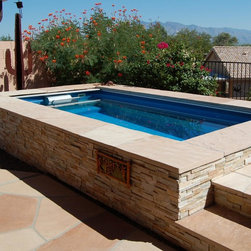 Endless Pools - Original Endless Pools® - Textured stone coping and stacked stone siding suit the nearby cacti just right in this Southwestern Endless Pool installation. With its fully adjustable swim current, the Endless Pool's surf is always up!