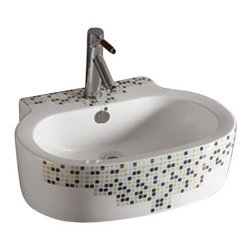 Whitehaus Collection - Whitehaus WHKN4046-03 Ceramic Decorated Above Mount Oval Bath Sink Basin - Add style and class to your bathroom! This elegantly crafted modern bathroom sink spices up any setting making your bathroom a dream come true!
