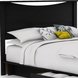 South Shore - Headboard for Full & Queen in Black - Step On - Manufactured from eco-friendly, EPP-compliant laminated particle boardcarrying the Forest Stewardship Council (FSC) certification. Contemporary design. Assembly Required. 80.5 in. L x 61.75 in. W x 9 in. H Infuse your bedroom with the grace and style of the Step One bedroom collection. This chic bedroom collection blends straight, minimalist lines and sleek metal handles with a rich pure Black finish to bring sophisticated and contemporary appeal to your bedroom. Each drawer is fitted with Smart Glides that include dampers and stops for smooth, safe opening and closing and easy access to all of your clothing and belongings. The kickplates offer a modern accent and are periodically interrupted by softly curving lines for a note of elegance. The simple metal handles stand out in contrast with the rich, dark finish and enhance the collection's smooth, fresh look.