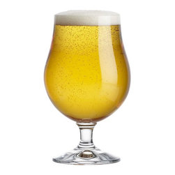 Bruges 16 oz. Beer Glass - With the booming trend in Belgian ales, this traditional tulip glass is the height of beer-drinking fashion. Crafted of crystalline glass with the highest standards in brilliance, durability and scratch-resistance.