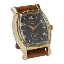 Uttermost - Uttermost 06075  Wristwatch Alarm Square Pierce - Brass rim with leather stand. requires 1-aa battery.
