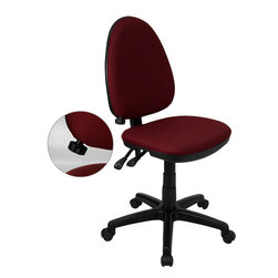 Flash Furniture - Mid-back Burgundy Fabric Multi-functional Task Chair Adjustable Lumbar Support - Articulating the sophistication of European styling/ along with the functionality of a multi-positional chair/ this computer task chair from Flash Furniture is sure to please. Employing a unique adjustable lumbar support system/ customizable to the specifications of almost anyone/ the user can be assured of a comfortable experience not usually found in most economic task chairs. This comfort level is attained simply by supporting the natural curvature of the user's spine near the small of the back - right at the point where most people experience lower back pain. Featuring/ in addition to the adjustable lumbar support/ a standard seat height adjustment/ and asynchronous locking back angle adjustment mechanism/ we are certain that this task chair will be the perfect fit.