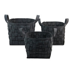 None - Charcoal Wool Felt Storage Containers (Set of 3) - Perfect for storing and organizing your essential items,these wool felt baskets will keep your home looking tidy in style. Able to nest within each other in a space saving design,the deep chocolate color adds to these baskets appeal.