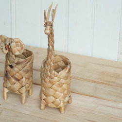 Natural Handwoven Animal Toys, Giraffe and Elephant by PLEN - It's fun seeing animals woven from natural materials, like these adorable figurines that double as desk organizers.