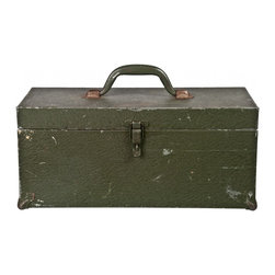 Steel Tool Box - Vintage textured steel tool box with piano hinge lid and reinforced corners.
