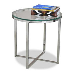 Interlude Home - Interlude Home Marilyn Round Side Table - This Interlude Home Round Side Table is crafted from Stainless Steel and Glass and comes in a Polished Finish.  Overall size is:  20 in. W x  20 in. D x 20 in. H.