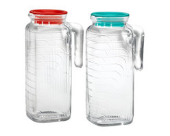 Bormioli Rocco Gelo 2-Piece Glass Pitcher Set with Lids, Red and Green - This set of square pitchers is designed to fit into most refrigerator doors. They add a little panache to your iced tea, chilled juices and even tap water!