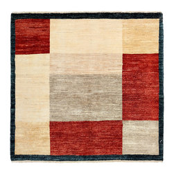 """Darya Rugs - Darya Rugs Modern, Red, 3'10"""" x 4'1"""" M1618-278 - Darya Rugs Modern collection represents a minimalistic, timeless statement that complements transitional, contemporary, and traditional interiors. All rugs were hand-knotted by skilled artisans and weavers."""