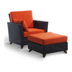 All Things Cedar - Rattan Chair Ottoman Set with orange cushion - All Weather Resin Rattan Wicker with a Maintanence Free Solid  Aluminum Frame. Ottoman Size: 27w x 27d x 17h Item is made to order.