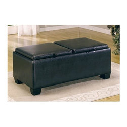 Homelegance - Vega Ottoman in Dark Brown with Storage - Ottoman cocktail table with storage trunk by Vega Collection offers an inventive way to store your assorted odds and ends out of the way but still within reach.