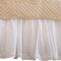 Taylor Linens - Daisy Dot White Eastern King Bed Skirt - You're sweet, sheer perfection, so why shouldn't your bed match? Delightful daisies and dainty dots are embroidered on delicate linen and organdy. This ruffled bedskirt is creamy, dreamy and, like you, sure to be cherished for years.