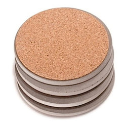 Culinarium - Concrete Coasters, Gray, Round - SET OF 4-All of our items are one of a kind. Each coaster set is cast in a hand made mold for about a week. Each is then hand burnished with several coats of durable carnauba wax.