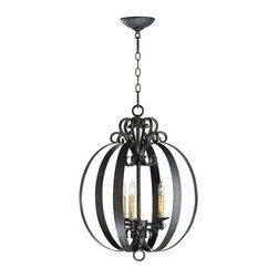 Cyan Design - Julian Chandelier - This striking wrought iron chandelier combines an iron globe with an intricate crown piece. The hammered bronze finish gives it hand-crafted character.