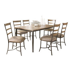 "Hillsdale Furniture - Hillsdale Charleston 7-Piece Rectangle Dining Set with Ladder Back Chairs - Hillsdale's Charleston collection beautifully combines a rustic desert tan wood finish with a dark grey metal and offers a multitude of choices to create the perfect dining group for your home. Starting with the chairs, you have the choice of three lovely designs: The X-Back chair combines a rustic desert tan top accent with a transitional metal X in the center of the back and a brown faux leather seat. The parson's chair is traditional in design and combines the rustic desert tan finish with the brown faux leather seat. The ladder back chair features 3 rungs in the desert tan finish, enhanced by the dark grey metal and brown faux leather seat. Now that you have decided on your chair, let's look at the table options: The stunning rectangle table features a wood top that is generously scaled to easily accommodate 6. The simple round table features a 48"" diameter wood top with flared metal legs. The round wood table is 48"" in diameter and features a wonderful metal accent on the base."