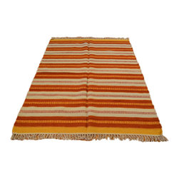 Striped Durie Kilim Reversible 100% Wool Hand Woven 4'X6' Oriental Rug SH6960 - Soumaks & Kilims are prominent Flat Woven Rugs.  Flat Woven Rugs are made by weaving wool onto a foundation of cotton warps on the loom.  The unique trait about these thin rugs is that they're reversible.  Pillows and Blankets can be made from Soumas & Kilims.
