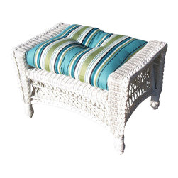 """Wicker Paradise - Cape Cod Ottoman White - A perfect addition to your indoor/outdoor space, the outdoor patio wicker ottoman is perfect with our outdoor wicker chair so you can put your feet up and relax. You can also use it as a """"coffee table"""" by putting a serving tray on top of it! It measures 29 inches wide, 17 inches deep, and 18 inches high for the perfect size footrest. PLEASE NOTE: This is for ottoman frame only (Cushion Not Included)."""