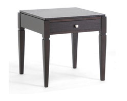 Wholesale Interiors - Haley Black Wood Modern End Table with Drawer - Finish your living room off with just the right touch of convenience and contemporary style! The classic appeal of our Haley End Table is in its black stain, sturdy MDF and solid wood frame, and useful drawer. A silver tone drawer pull adds luster to the living room table. Made in Malaysia. Some assembly is required. Wipe clean with a dry cloth. A matching console table and coffee table are also offered (sold separately).