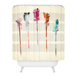 DENY Designs - Iveta Abolina Feathered Arrows Shower Curtain - Who says bathrooms can't be fun? To get the most bang for your buck, start with an artistic, inventive shower curtain. We've got endless options that will really make your bathroom pop. Heck, your guests may start spending a little extra time in there because of it!