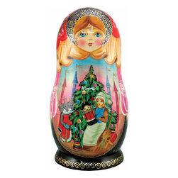"""Artistic Wood Carved Russian Matreshka Nutcracker Doll - Measures 9""""H x 5""""L x 4""""W and weighs 2 lbs. Carefully open this Matreshka doll in the middle to reveal a whole collection of hidden treasures. Each ornament tells a story and are freehand painted in rich colors. Each piece was created in the art villages of Russia to our exacting standards for a lifetime of beautiful memories. The adorable hand painted ornament dolls make a great gift and/or collectible. This Russian Matreshka doll has ornaments inside that were beautifully handmade by a Russian artist. Each ornament inside the doll tells a story and are freehand painted in rich colors."""