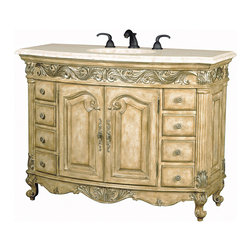 Ambella Home - Provincial Medium Sink Chest - Light - Antiqued parchment finish, fluted front corners, aged silver highlights and an Ivory Cream marble top. Balsa porcelain sink installed.   Imported.