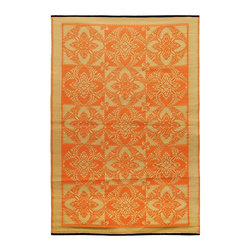 Achla - Saffron Primrose Floor Mat - Color the ground you walk or sit on with these polyurethane woven floor mats. Spread them out at the beach, on the porch, floors in the kitchen and childrens rooms or hang them on the wall. Soft on the feet and easy to wipe clean. We recommended using carpet tape to hold them in place indoors. Our mats are made to last, but like everything else, we need to take good care of them. Ideally they should be kept rolled when not in use. Try to avoid leaving mats exposed to sun or rain for long periods of time. Wash by hand and allow to drip dry. Polyurethane, woven floor mats. Used both Indoor and Outdoor. Construction Material: Plastic. No Assembly Required. 48 in. W x 72 in. D x 0.25 in. H (3 lbs.)