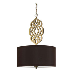 Candice Olson - Candice Olson Grill Transitional Pendant Light X-H4-2248 - From the Grill Collection, this AF Lighting pendant light features a stunning medallion-style arm finished in beautiful shades of Satin Brass. The golden undertones compliment the dark look of the black poly silk shade on this transitional pendant light, adding to its appeal.