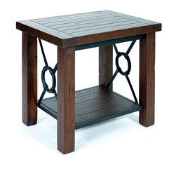 Hard Wood and Metal End Table - Modern Lodge Collection