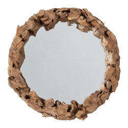 Kathy Kuo Home - Kingston Small Circular Beach Cottage Driftwood Mirror - Beach lovers -- bring a bit of your last sunny vacation into your home with this driftwood mirror.  This standout piece features three-dimensional construction that pulls together pieces of natural driftwood that stand tall around a simple round mirror, as if protecting it from the waves.  Perfect for a country cottage or an industrial loft space.