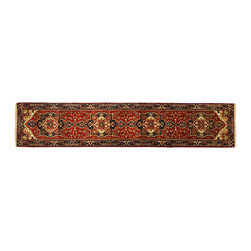 Manhattan Rugs - Hand Knotted Wool Heriz Serapi 3x12 Dark Red/Navy Blue Border Oriental Rug H5250 - Heriz is situated in the northwestern part of Iran (Persia).  Though the term covers Hand knotted rugs of numerous small villages in the area, the most beautiful Rugs were woven in Heriz itself For the last 100 years, the Heriz carpet designs have basically remained the same, with only small variations in color pallets and density of the design. The late 19th Century Rug (so called Serapis) was of fewer details and softer colors and with time designs became denser with added jewel tone color pallets. The revival of the carpet industry in the late 19th Century was based on the demand of the Western markets, with America in particular. Weavers in Heriz hand knotted were asked to make carpets inspired by the Fereghan Sarouks of higher cost for consumers of more limited budgets. Even though Sarouk carpets changed style later on, Heriz weavers stayed with the geometric pattern till now.  However, Heriz was also a center of production of some of the best handmade carpets with both geometric and curvilinear floral patterns.  A special heirloom wash produces the subtle color variations that give rugs their distinctive antique look.