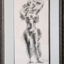 Chaim Gross, Standing Nude, Pastel Drawing - Artist:  Chaim Gross, Austrian (1904 - 1991)