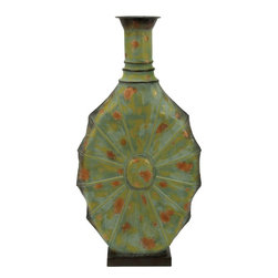 Benzara - Metal Vase Green with Unique Styling - Get hold of this green metal vase if you are looking for a perfect vase that is a sure to give your interiors an aesthetic appeal with its presence. It is a perfect accessory to accessories your lively living room, or your cozy bedroom. Keep beautiful flowers in this exquisite vase and add value to your home decor. This elegant metal vase is exclusively designed for the ones with a unique sense of styling. This long oval shaped exquisite vase with or without flowers would look elegant. The green color along with the metallic spots gives it an ethnic look. Its elongated design with a slim neck ensures that you win compliments. It is perfectly designed to be kept on the side table or the bar cabinet. It is lightweight and compact which ensures that you can move it easily when needed..