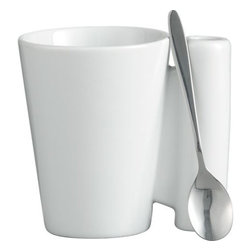 spoon coffee mug with stainless steel spoon - hip pocket. This clever, all-in-one design solves the eternal question of where to park your spoon post-stir. Modern white glazed porcelain mug self-stores stainless steel spoon. Dishwasher- and microwave-safe.- Glazed white porcelain 7 ounce mug- Stainless steel spoon- Dishwasher- and microwave-safe- Made in China