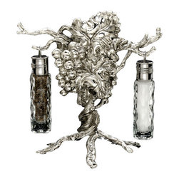 Arthur Court - Grape Hanging Salt & Pepper Set - This striking, vine-inspired sculpture not only bares a decorative bushel of grapes, but its branches can be used to dangle a set of salt-and-pepper shakers. Keep it on your table, so those shakers will always be ripe for the picking.