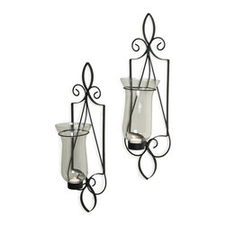 "Danya B. - Tuscan 21"" Sconce Set - Add refinement to your wall with these stately, Italian-inspired sconces. Elegantly crafted from black twisted wrought iron, each sconce features a glass hurricane to hold your favorite tea light or votive candle."