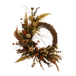 Cream Sunflower Wreath - Wreath With Dried And Silk Flowers
