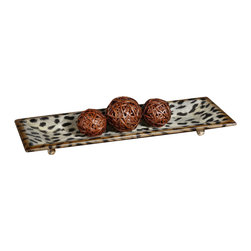 Uttermost - Uttermost Malawi Tray - Malawi Tray by Uttermost Burnished Cheetah Print Over A Ceramic Base.