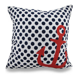 Navy and White Polka Dot Throw Pillow w/Red Anchor Accent 18 in. - Accenting your home inside and out in nautical style is super easy with this vivid navy blue and white polka dot throw pillow that`s perfect for your living room sofa, the Adirondack chair on the patio or the chaise lounge in your garden oasis. The 100% polyester cover is water repellent and it`s filled with 100% polyester fiber. Measuring 18 inches high by 18 inches long (46 cm by 46 cm), it would look amazing by a pool area, in your seaside cottage or just tossed on the bed, and features a big red anchor accent on both sides. It is recommended to dry clean or spot clean only. This bright and cheerful throw pillow would make an excellent housewarming gift for any nautical style fans!