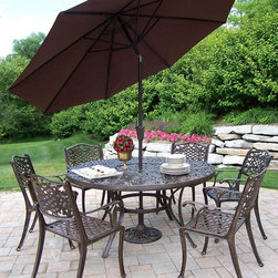 Oakland Living - 60 in. 9 Pc Dining Table Set w Umbrella and S - Set includes Dining Table, 6 Dining Chairs, Umbrella Base Stand, and Brown Umbrella. Made of Rust Free Cast Aluminum Construction. Table top has a diameter of 60 inches and has opening for an umbrella. Center of the table can be replaced with an ice bucket. Easy to follow assembly instructions and product care information. Stainless steel or brass assembly hardware. Fade, chip and crack resistant. 1 year limited. Hardened powder coat finish in Antique Bronze for years of beauty. Antique Bronze finish. Some assembly required. 60 in. W x 60 in. L x 29 in. H (220 lbs.)This 60 inch nine piece dining set is the perfect piece for any outdoor dinner setting. Just the right size for any backyard or patio.