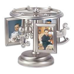 "Lawrence Frames - Baby Frame-Go-Round Multi 2x3 Picture Frame - Wind Up Design - Antique pewter finish metal ""Carousel"" frame. Carousel holds six wallet sized photos in 3 frames (two sided) and 3 nursery themed pewter ornaments.  Winds up and plays the classic nursery song ""Rock-A-Bye Baby"" while slowly rotating."